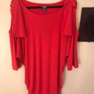 Red cold-shoulder long sleeved dress